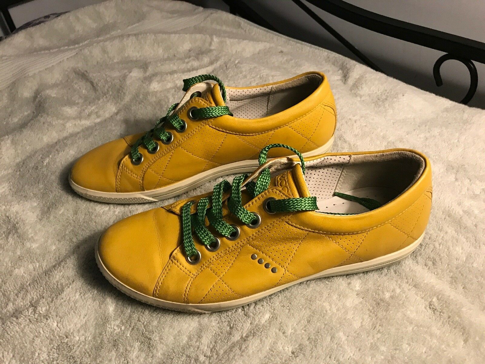 ECCO Womens Golf Yellow Casual Leather Lace Up Shoes Womens ECCO  EU 38 SC8 53dd1c