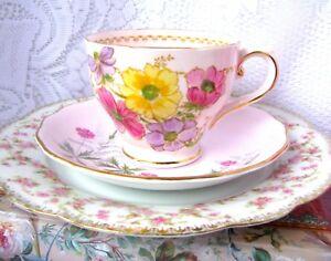 Vintage-Pink-Cosmos-Teacup-Trio-Inc-Tuscan-Tea-Cup-amp-Colclough-Saucer-amp-MZ-Plate