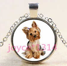 Yorkshire Terrier Cabochon Tibetan silver Glass Chain Pendant Necklace #4179