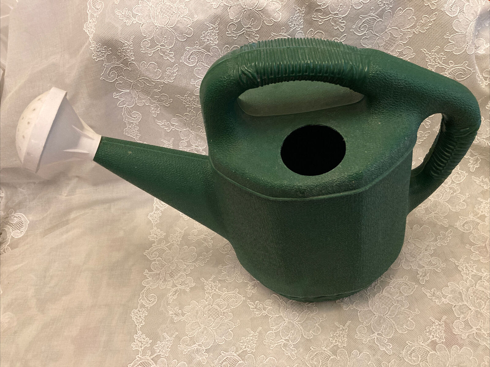 Vintage 2 Gallon Green Plastic Watering Can Made In Canada