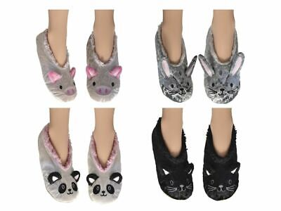 Beliebte Marke Womens 3d Fun Slippers With Grippers Velvet Shimmer With Fur Lining Size 4-7
