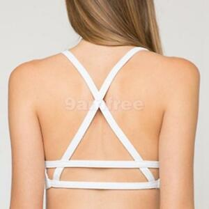Sexy-Women-039-s-Padded-Bra-Sports-Bralette-Blouse-Crop-Top-Back-Cross-Straps-White