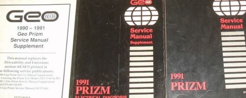 1991 GM Chevrolet Chevy Geo Prizm Service Shop Repair Workshop Manual Set OEM