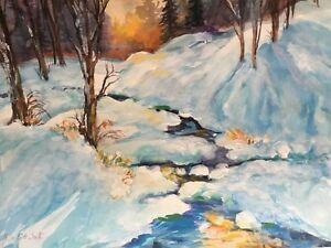 Millie Gift Smith 30x22 Landscape Watercolor Snowy Woods Ebay