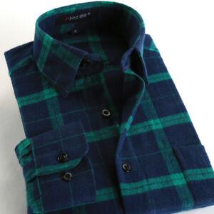 Mens-Shirts-Plaid-Casual-Cotton-Long-Sleeve-Flannel-Green-Check-Smart-Work-shirt