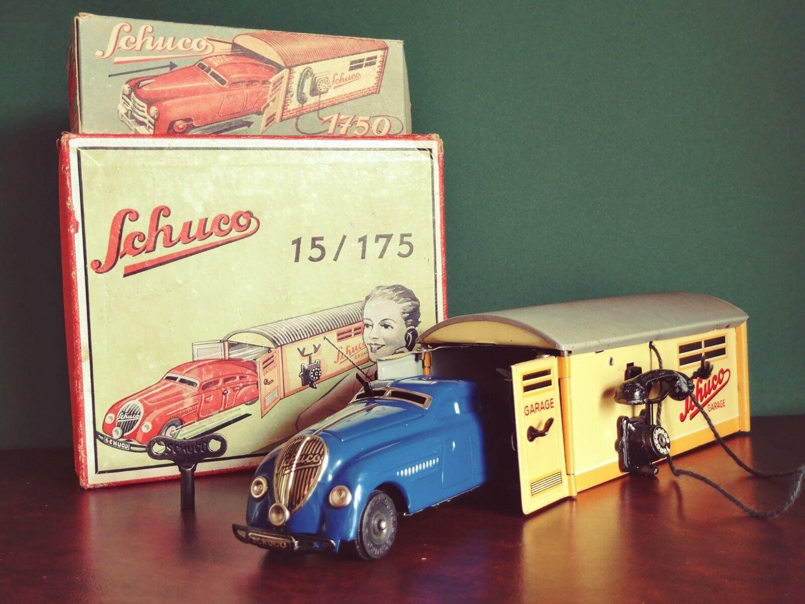 Raro década de 1930 Schuco 15 175 Juego De Estaño Wind-up 1750 Limusina & con garaje o caja.