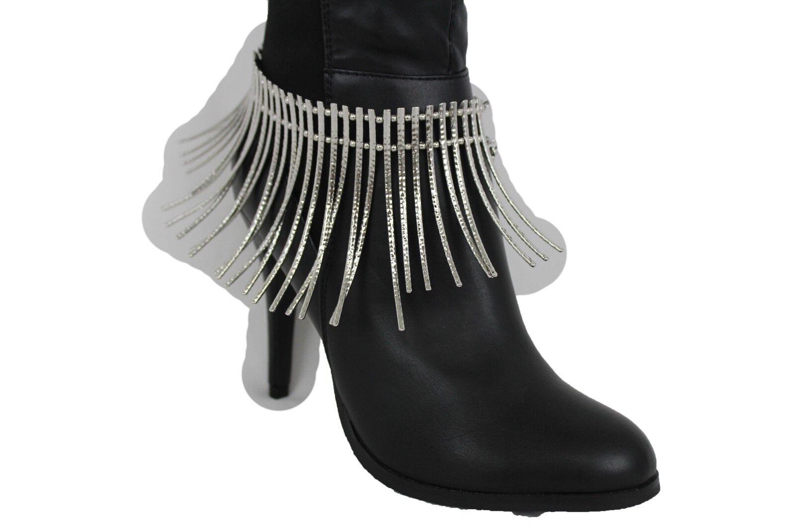 Women Boot Bracelet Silver Metal Chain Long Stud Anklet Shoe Bling Dressy Charm