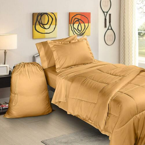 College Dorm Twin XL Bed In a Bag 6 Piece Bedding Set Includes Laundry Bag!