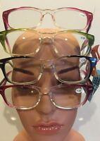 2 Pr/$6.99 Wayfarer Style Reading Glasses Clear/color W/ Spring Hinges 1.0-3.0