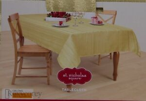 image is loading st nicholas square christmas gold stripe shimmer 60x84 - Square Christmas Tablecloth