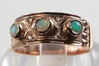 LOVELY LARGE 9CT ROSE GOLD AUSTRALIAN OPAL & DIAMOND BAND RING
