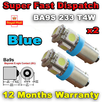 Number Plate Bulb 233 BA9S T4W 360 2 x 5 LED BLUE Side Light Interior