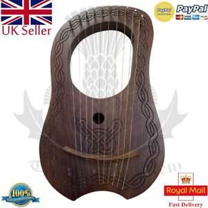 Avoir Un Esprit De Recherche Te Lyre Harpe 10 Métal Chaînes Gravé Palissandre Bois/lyra Harpes Case Tuning Key-afficher Le Titre D'origine