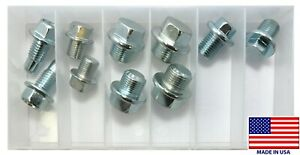 (10) Metric Zinc Plate Oil Drain Plug Assortment Kit - 12mm to 18mm - USA MADE