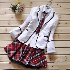 Korean Japanese School Girl Student Uniform w/Suit Jacket Cosplay Costume Size S