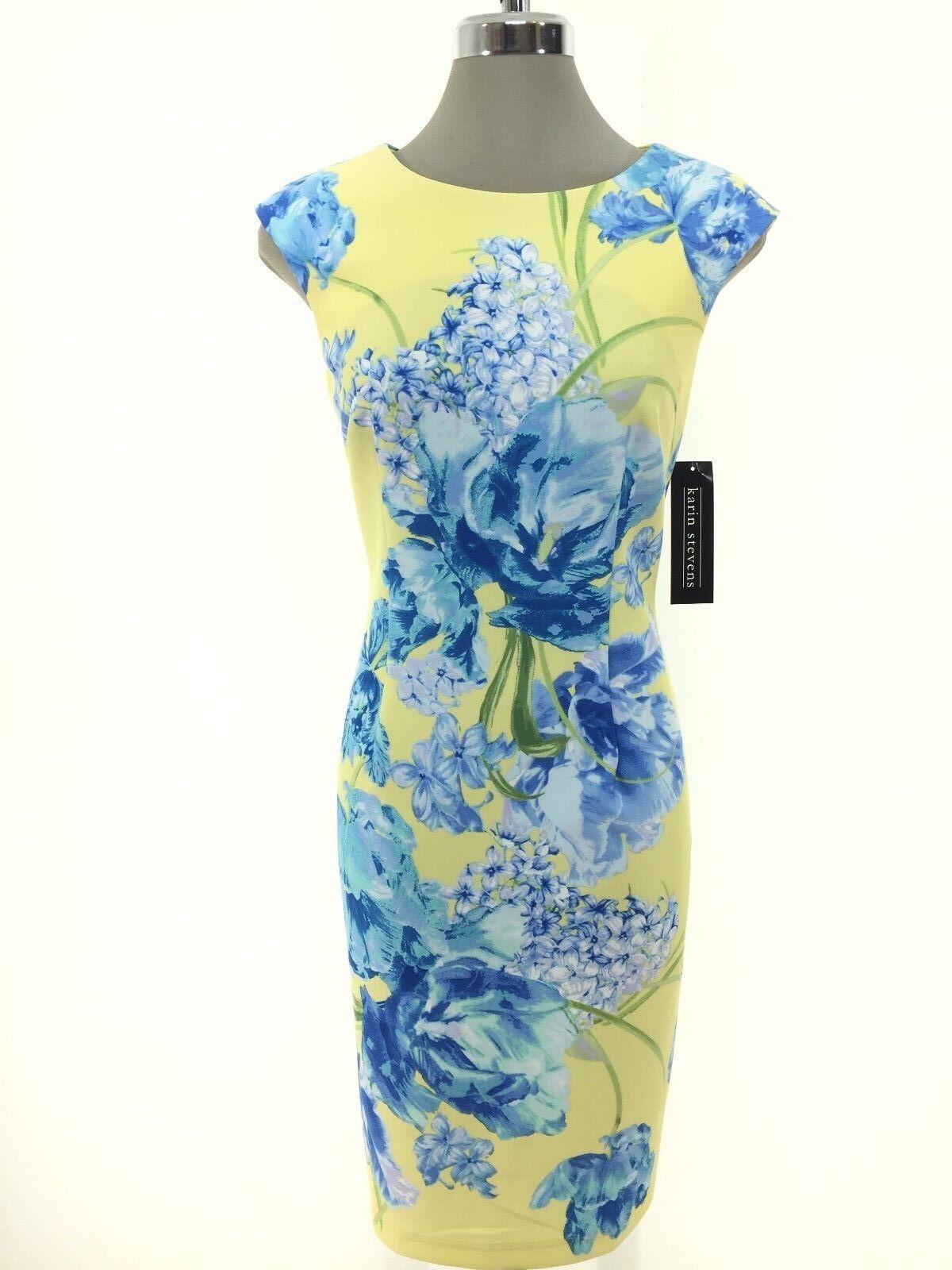 Karin Stevens NWT Modern blueE YELLOW Floral print Scuba Dress 6 8 10 12 14 16