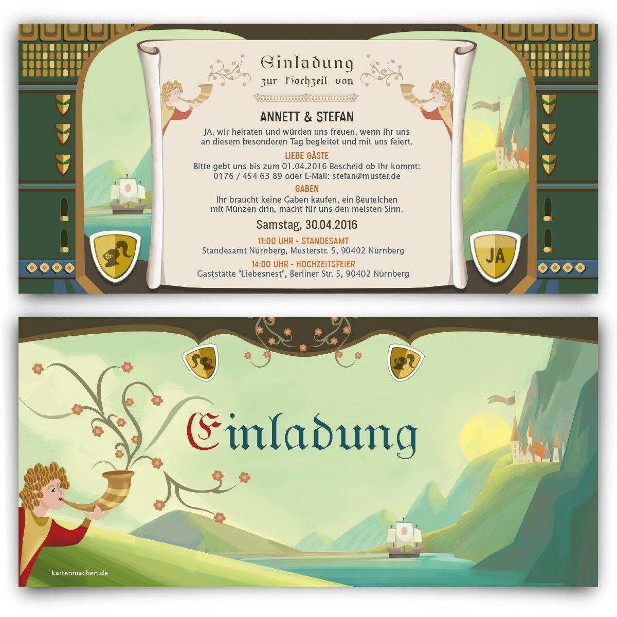 Einladungskarten Mittelalter Hochzeit Ritter Schloss Burg Einladung Karten