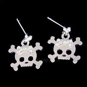 Image Is Loading W Swarovski Crystal Gothic Skull Crossbones Hip Hop