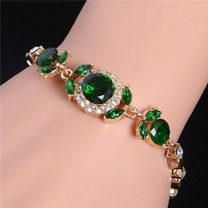 Fashion-Gold-Plated-Crystal-Wristband-Bracelet-Bangle-Cuff-Chain-Women-Jewelry