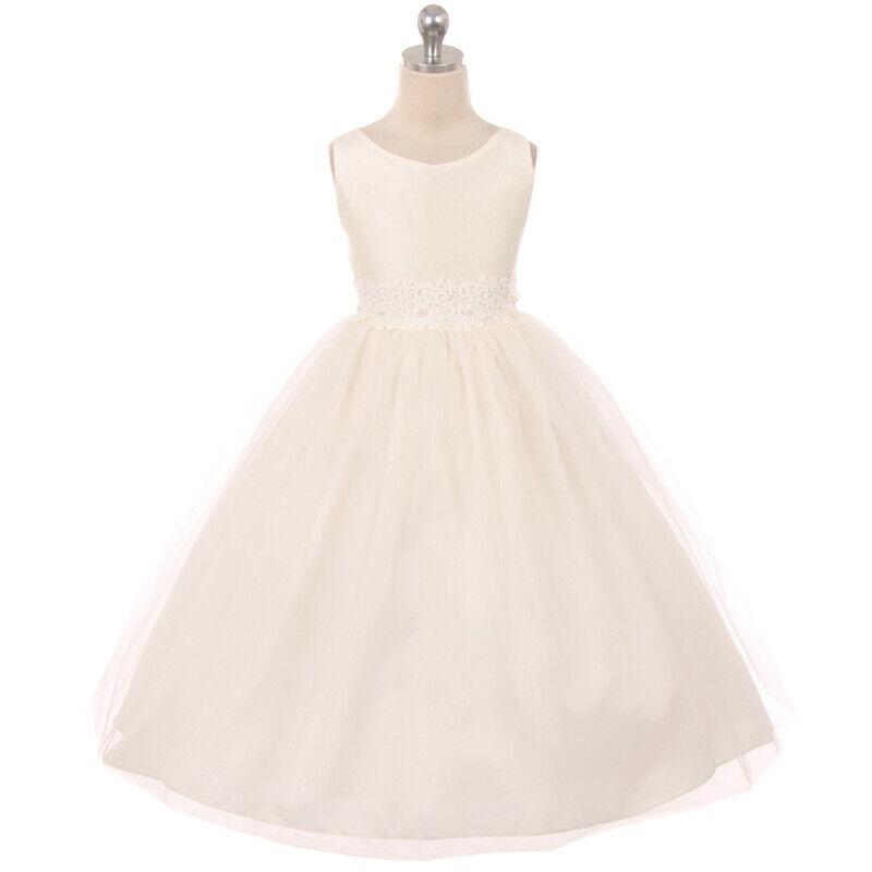 IVORY Size 10 Two Tone Flower Girl Dress Birthday Wedding Recital Bridesmaid