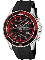 Festina F16561/5 Mens Stainless Steel Rubber Strap Black Dial Chronograph Watch