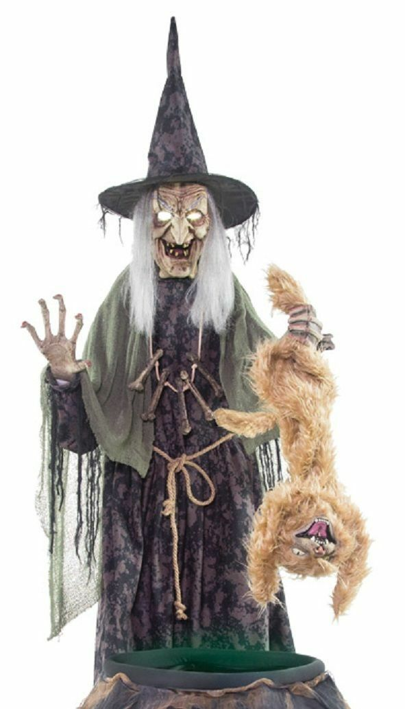 LifeGröße Animated EVIL WITCH COOKS CAT IN CAULDRON Halloween Haunted Haunted Haunted House Prop 0378fd