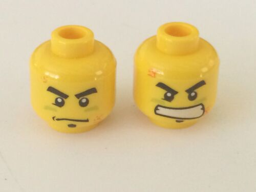 *NEW* 5 Pieces Lego Minifig YELLOW Head 2-Sided RED SCARS SCOWL DETERMINE