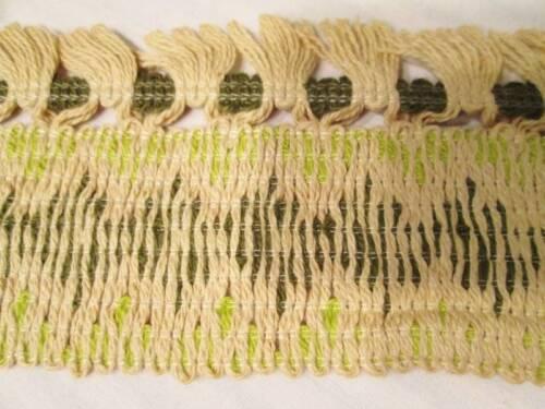 "Vtg GIMP Fabric Trim Upholstery Curtain FRINGE Hunter Chartreuse Green 5 YD 3/"""