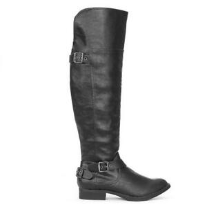 e40186a072ba Trendy Stylish Pewter Buckle Accent Over Knee High Equestrian Rider ...