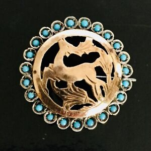 Ancien Pendentif En Argent Massif Or Avec Perles De Turquoise