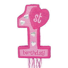 Pink first birthday number 1 pinata perfect for a little girl's first birthday