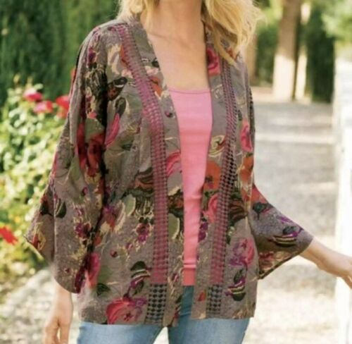 Soft Surroundings Garden Floral Kimono Brown Pink