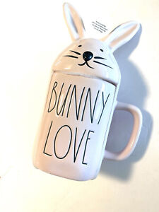 """Rae Dunn Pink """"BUNNY LOVE"""" Coffee Mug with Rabbit Ears Topper Easter Spring NEW"""