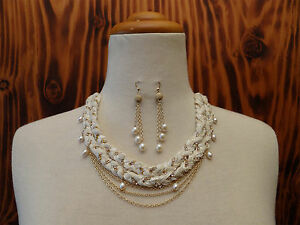 Etikka-Necklace-Layered-Ribbon-Chain-Fresh-Water-Pearls-With-FWP-Drop-Earrings