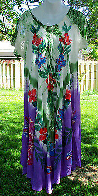 NWT Multi-Color Umbrella Dress Lace Up Chest Rayon  Embroidered  Fits Sizes L-1X