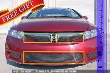 GTG, 2009 - 2011 HONDA CIVIC 4DR 3pc CHROME UPPER & BUMPER BILLET GRILLE KIT