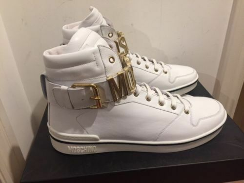 MOSCHINO Lace Up High Top Trainers With Gold Colour Logo Hardware - UK 6/EU 40