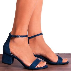 NAVY ANKLE STRAP PEEP TOES LOW BLOCK HEELED HEELS STRAPPY SANDALS SHOES SIZE 3-8