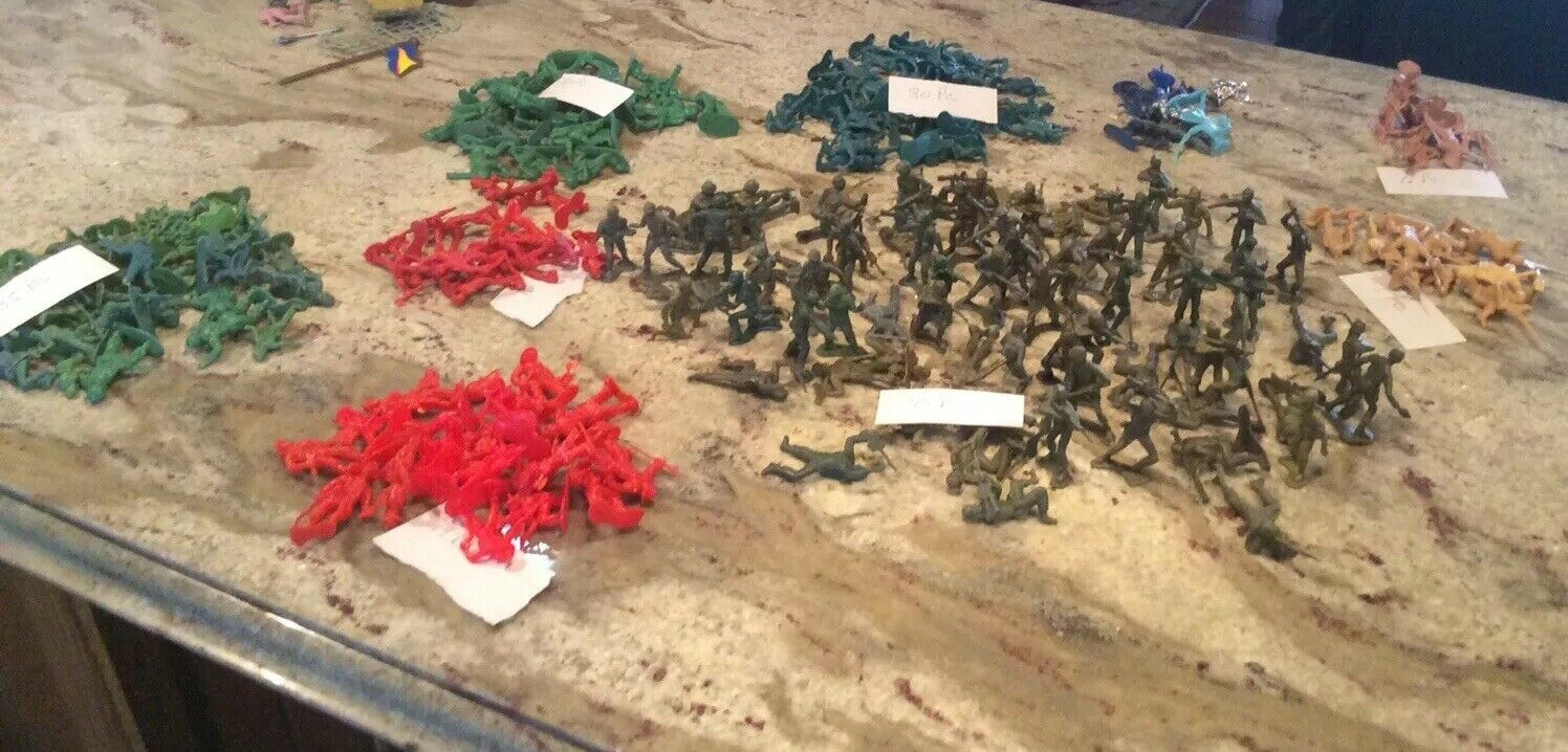 Mix Lot Vintage 230 +Plastic Figures Soldier Army Men Civil War Cowboy Firemen
