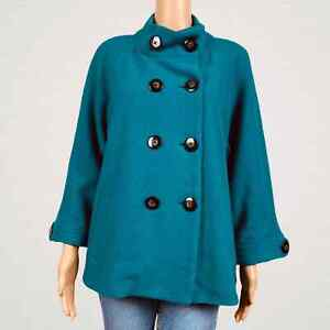 Chico's Double Breasted Ammi Wool Coat Jacket Size 2 Large 12 Emerald Teal Green