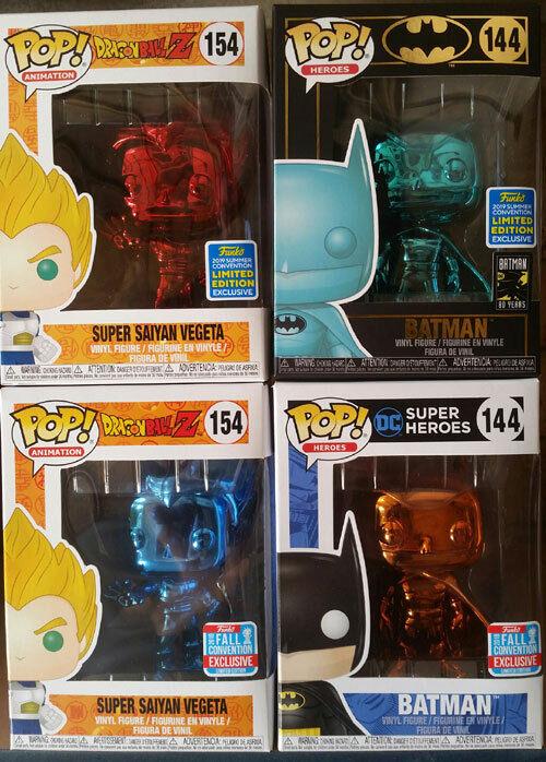 Funko Super Saiyan Vegeta Blau + rot Chrome & Batman Orange + Blau Chrome Pop