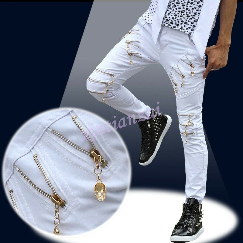 Mens slim hip-hop Skull Long trousers Leisure Jeans Zip pencil pants Bar Fashion