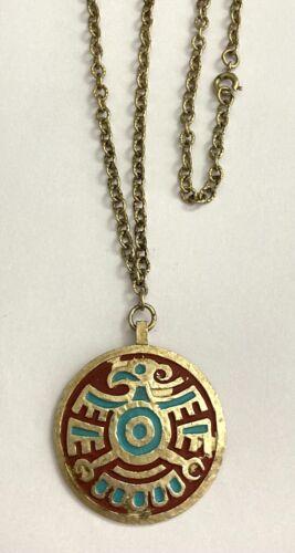 Vintage Trifari Rare Eagle Aztec Mayan 70's Gold T