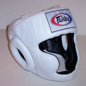 NEW-Fairtex-Full-Face-Headgear-White-amp-Black-Muay-Thai-Kickboxing-Head-Gear