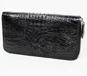 Black-Alligator-Crocodile-Genuine-Leather-Women-Horn-back-Zipper-Clutch-Wallet