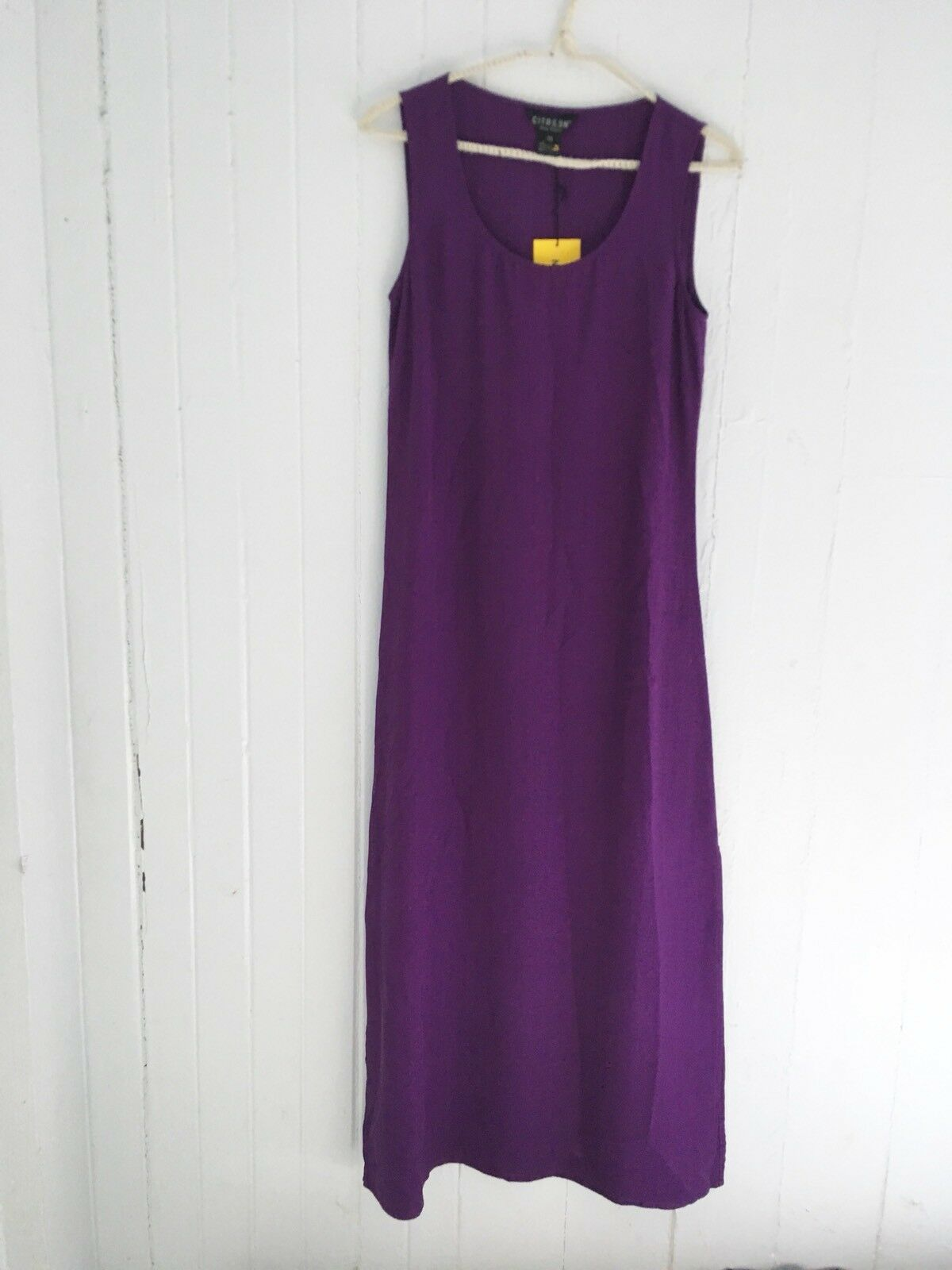 NWT New Citron Santa Monica Size XS Deep Purple 100% Silk Tank Maxi Dress
