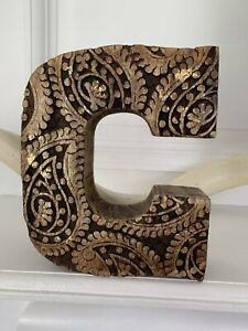 Vintage-Handcrafted-Carved-Wooden-Initial-C-Wood-Block-Gold-Decorative-Letter