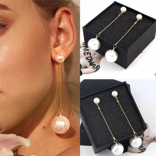 Elegant Women White Pearl Long Dangle Earrings Gold Plated Stud Drop Earrings