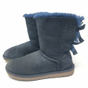 f70ed1ac32a Details about UGG Australia Women's Blue Bailey Bow ll Boots Suede 1002954  Size 6 M Winter