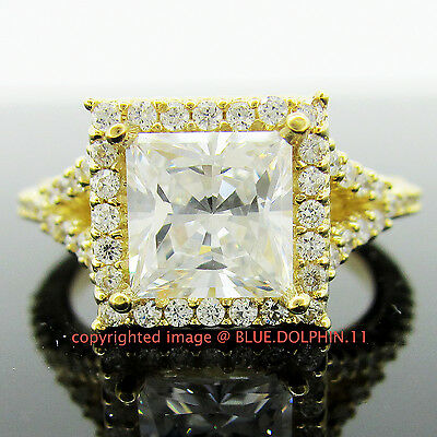 100% Genuine 9K Yellow Gold 2.5ct Princess Cut Engagement Ring Simulated Diamond
